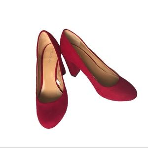 (2for20)Merona Red Suede Heels (size 7.5)